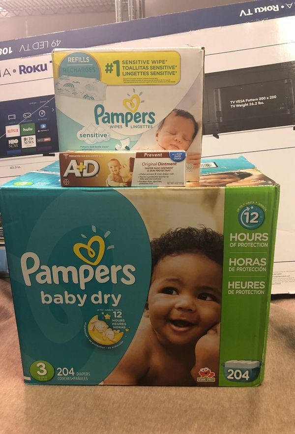 Pampers bundle (Diapers, wipes, and cream)