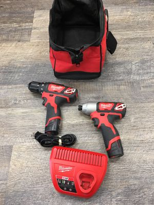 """Milwaukee 2407-20 M12 12V 3/8"""" Drill & 2462-20 1/4"""" Hex Impact Driver Kit for Sale in Saugus, MA"""