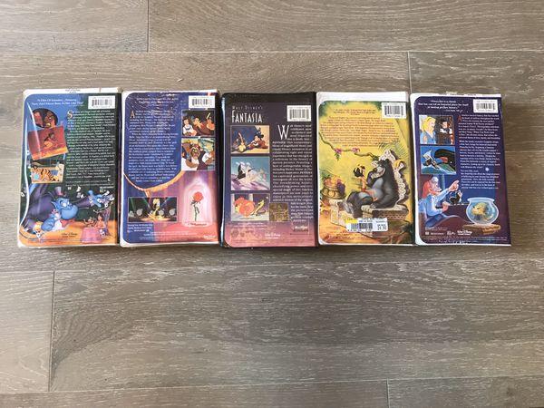 New Black Diamond Walt Disney VHS Aladdin Beauty Beast Fantasia Jungle