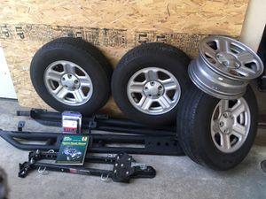 Jeep Wrangler Accessories - Door Step - Tow Bar - Hood Lock - Tires - Rim - Repair Manual for Sale in Upland, CA