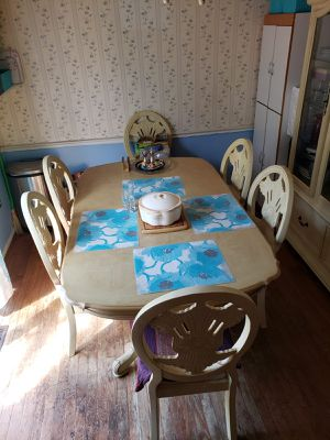 8 chair Wooden dinning table with china cabinet for Sale in Springfield, VA