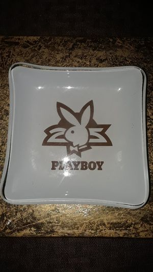 VINTAGE RARE WHITE GLASS PLAYBOY ASHTRAY 4IN BY 4IN LIMITED EDITION for Sale in undefined