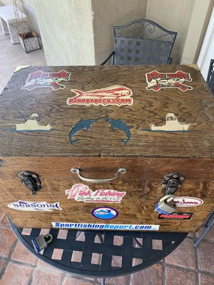 Very nice hardwood (engraved) tackle box. for Sale in Poway, CA