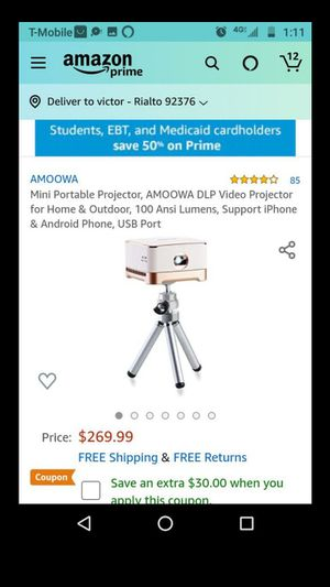 Mini Portable Projector, AMOOWA DLP Video Projector for Home & Outdoor, 100 Ansi Lumens, Support iPhone & Android Phone, USB Port for Sale in Rialto, CA