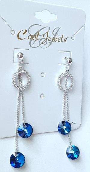 New silvertone long dangling blue acrylic and crystal ring post earrings for Sale in Fullerton, CA