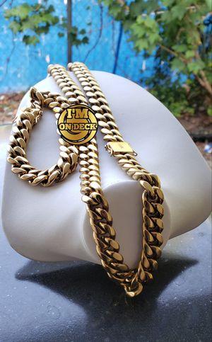 👑👑👑14mm 14k Gold Plated Cuban Link Set 🔥🔥🔥I Deliver🚘🚘🚘💱💱💱💯💯 for Sale in Coral Gables, FL