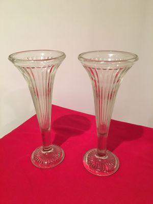 PAIR OF FLOWER GLASS VASES for Sale in Manassas, VA