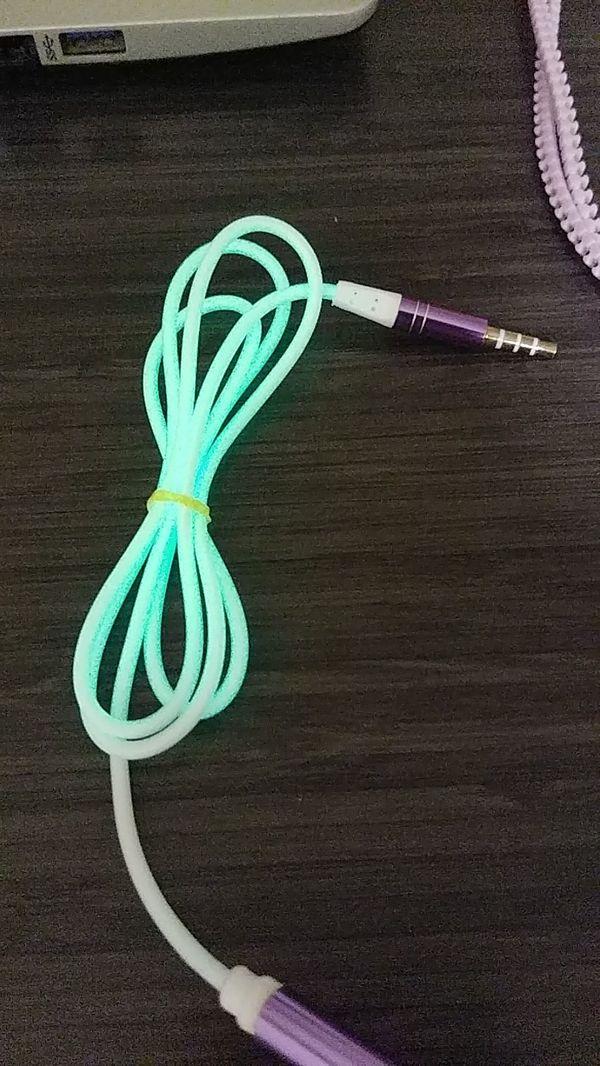 Purple Zip Up Headphones with Glow in the Dark Cord