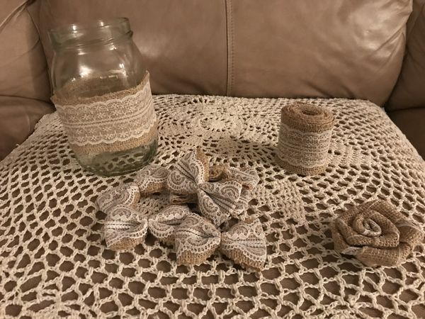 Various burlap and lace wedding decor