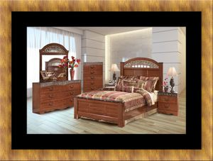11pc Ashley cherry bedroom set with mattress for Sale in Oxon Hill, MD