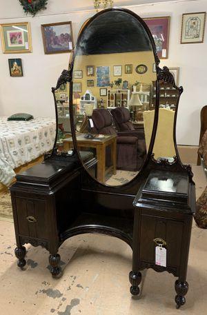 Antique Mahogany Vanity w Mirror - 2 Drawers & Jewelry Box Nooks for Sale in Lehighton, PA