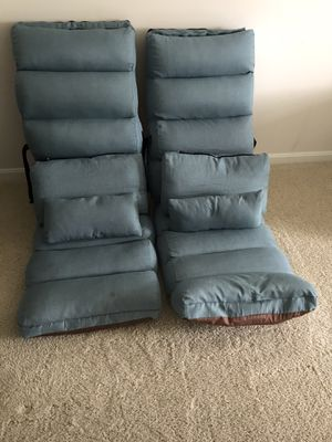 Almost New! Blue Reclining Lounge Chairs (Set of 2) for Sale in Alexandria, VA