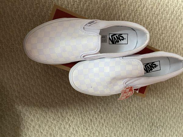 Checkerboard white vans