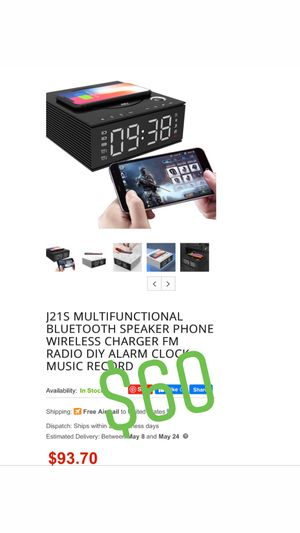 Wireless Charging Clock Bluetooth Speaker for Sale in Pomona, CA