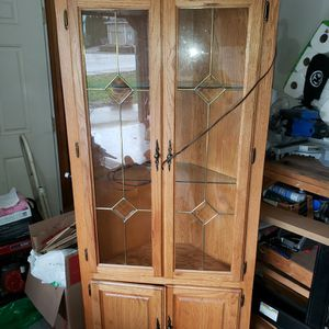 Oak Corner Cabinet With Glass Doors And Shelves. for Sale in Dayton, OR