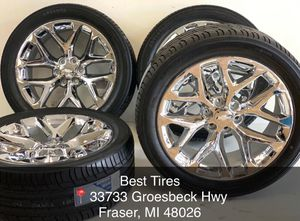 "22"" X9 OEM FACTORY CHROME CHEVY SILVERADO GMC SIERRA 1500 WHEELS RIMS TIRES PACKAGE deal 2095 Best Tires 📍33733 Groesbeck Hwy Fraser, MI 48026 for Sale in Sterling Heights, MI"