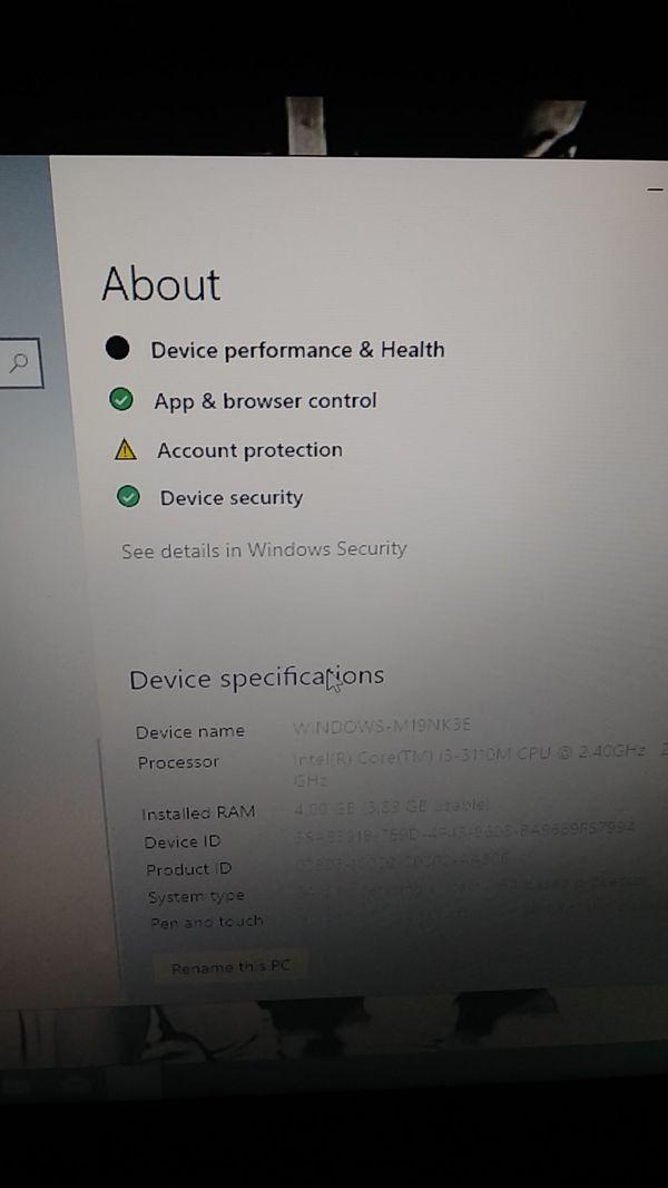 HP laptop Windows 10 Version 1809