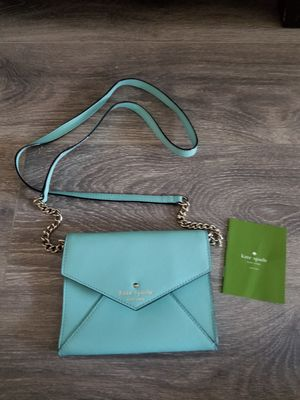 New! Kate Spade Envelope Crossbody, removable strap, light blue/ Tiffany blue color for Sale in Glendale, CA