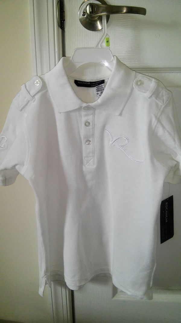 Boys size 7 ™Rocawear NEW white short sleeve 3 button shirt