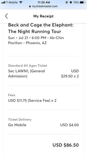 Cage the Elephant/Beck tickets for Sale in Tempe, AZ