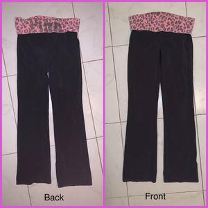 Victoria Secret Black Pink Yoga Fold Over Pant Medium M Flaw Pictured for Sale in Phoenix, AZ