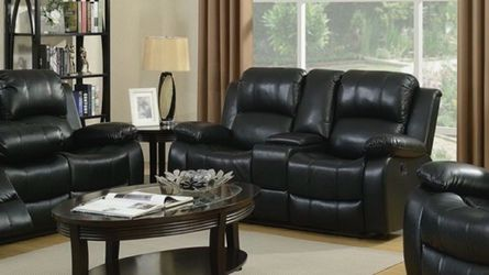 Black Reclining Leather 3 Piece Sofa Set for Sale in Atlanta,  GA