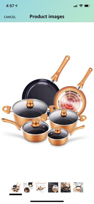 10pcs Cookware Set Non-stick Frying Pans Set Ceramic Coating Soup Pot, Milk Pot, Copper Aluminum Pan with Lid Gas Induction Compatible, 1 Year After for Sale in North Brunswick Township, NJ