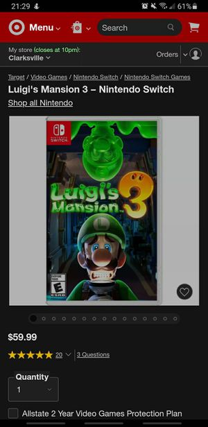 Nintendo Switch Game Luigi's Mansion 3 for Sale in Clarksville, TN