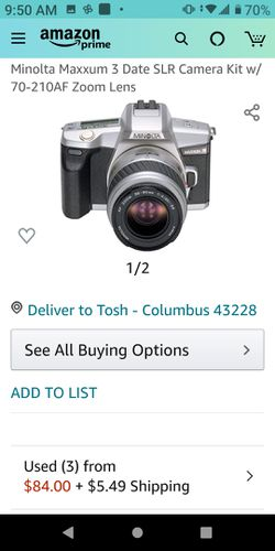 Minolta Maxxum 3 Date SLR Camera Kit w/ 70-210AF Zoom Lens   for Sale in Columbus,  OH