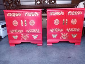 Pair of Antique Chinese Red Laquer with Brass accents Cabinets for Sale in Sacramento, CA