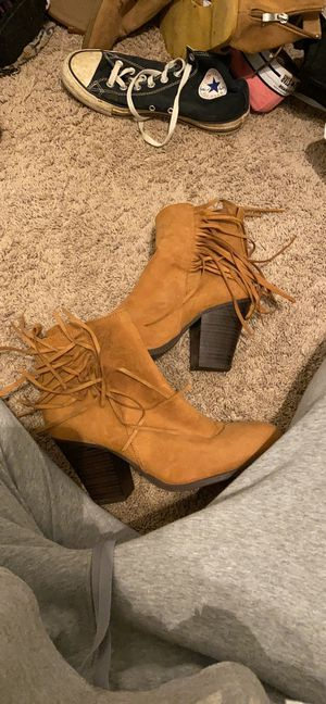 tanish heels with fringe for Sale in Holly Springs, NC