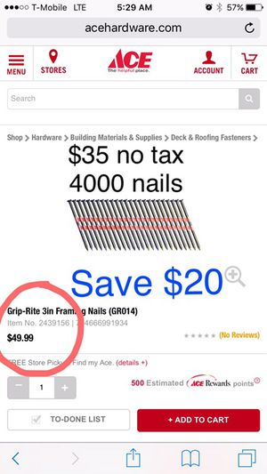 """3"""" Framing nails save $20. Big box 4000pcs for Sale in Commerce City, CO"""