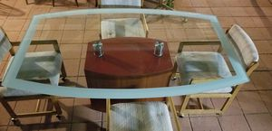 Beautiful Dining Glass Table With 4 Chairs, Firm Price, Read Description For Detail for Sale in Westminster, CA