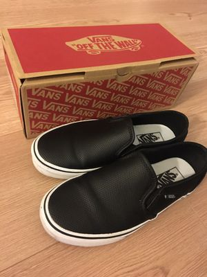 Black Leather Vans (women's size 8)-WORN ONCE for Sale in Washington, DC