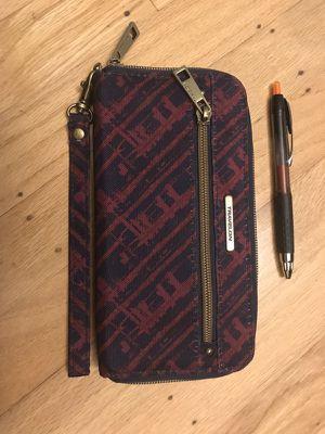 Travelon RFID blocking wristlet purse/wallet, navy/maroon for Sale in San Francisco, CA