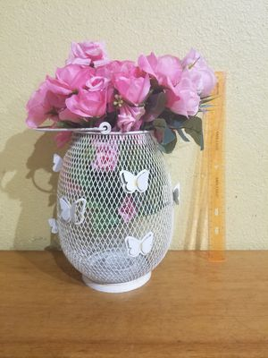 White butterfly vase with pink fake flowers for Sale in Los Angeles, CA