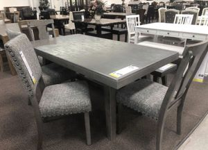 6pcs dining table set grey upholstery solid wood for Sale in Lakewood, CA