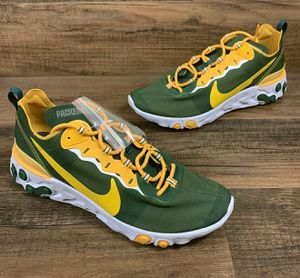 Men's NIKE React Element 55 NFL Green Bay Packers Green Yellow Size 11.5 for Sale in Long Beach, CA