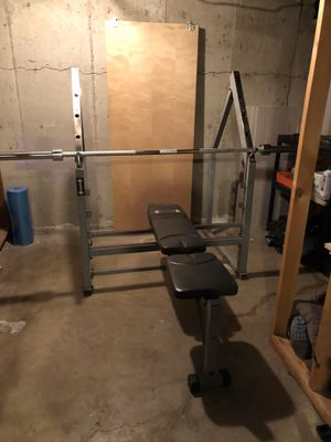 Bench/Squat rack and bar for Sale in Englewood, CO