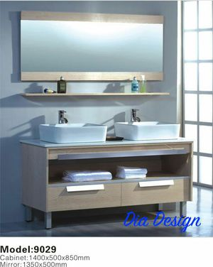 55 inch wide contemporary design bathroom cabinet with sink, faucet, mirror and shelf for Sale in Columbus, OH