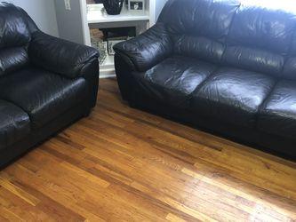 2 Piece Black Leather Sofa Set for Sale in Philadelphia,  PA