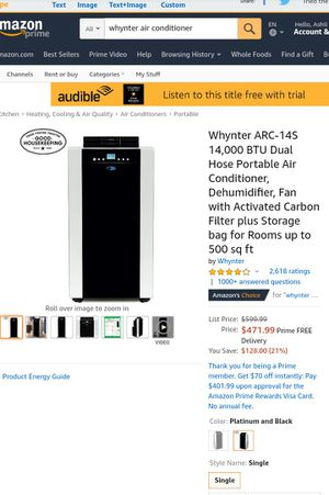 WHYNTER Portable Air Conditioner (Excellent Condition) for Sale in Los Angeles, CA