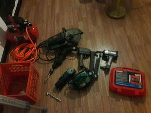Air compressor Cement Saw two nail guns a Craftsman nail gun nice big hammer drill and two more saws will take trade or best offer for Sale in Columbus, OH
