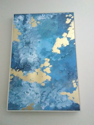 BLUE AND GOLD PRINT ON CANVAS for Sale in Denver, CO