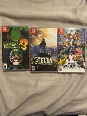 Luigi's Mansion 3, Super Smash Bro's, Zelda Breath of the Wild- Nintendo Switch for Sale in Whittier, CA