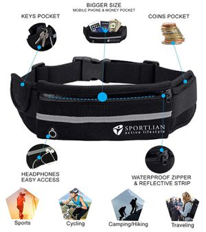 Fanny Pack for Men & Women | Best Waist Pack with Headphone Jack and Zipper Adjustable Strap - Water Resistant Belt - Waterproof Bag - Ideal for Runn for Sale in Sacramento, CA
