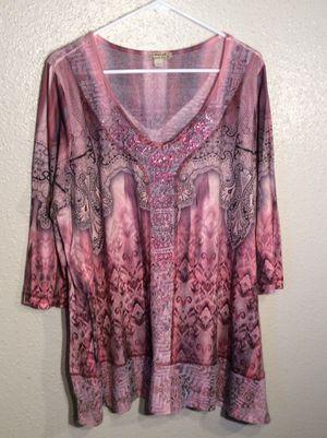Like New Beaded Opal Fuchsia Women's ENERGE Long Sleeve Top Tunic Dress in package - Size 3XL- 1XL for Sale in Austin, TX