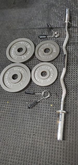 Olympic curl bar and weights for Sale in Joliet, IL