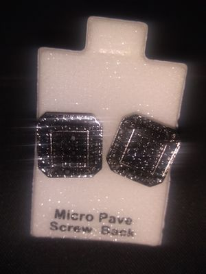 Stainless steel cubic zirconia Black diamond screw back earrings for Sale in Chicago, IL