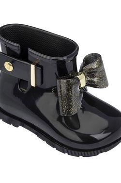 MINI MELISSA black bow Toddler Girl rain boots, sz 7 for Sale in Washington,  DC